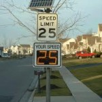 Example of a solar-powered radar feedback speed sign on a street. Photo: courtesy of Stantec
