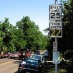 Example of a radar feedback speed sign on a city street. Photo: courtesy of Stantec
