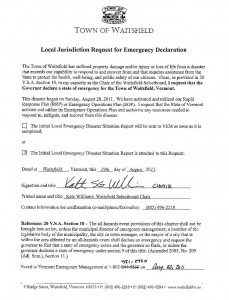 Waitsfield Declaration of Emergency, August 29, 2011